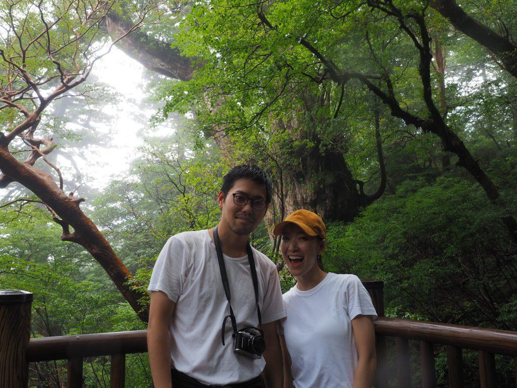 縄文杉と記念撮影